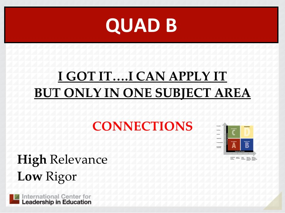 QUAD B I GOT IT….I CAN APPLY IT BUT ONLY IN ONE SUBJECT AREA CONNECTIONS High Relevance Low Rigor