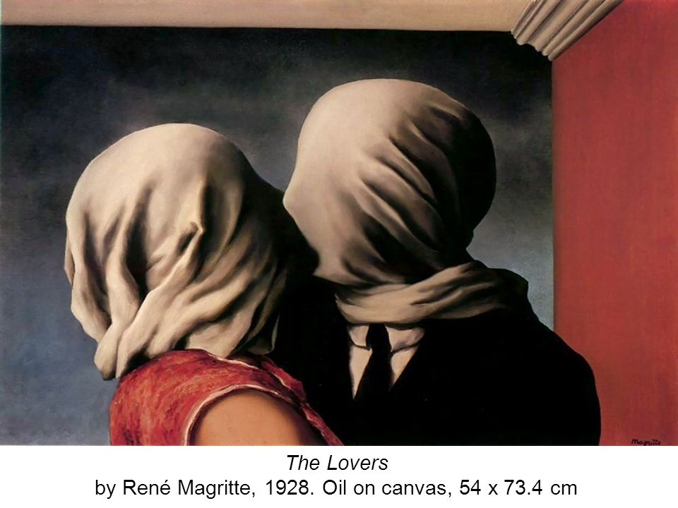 The Lovers by René Magritte, 1928. Oil on canvas, 54 x 73.4 cm