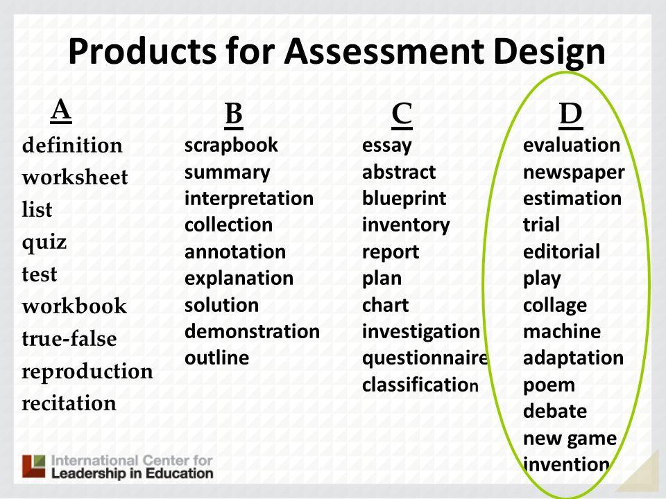Products for Assessment Design A definition worksheet list quiz test workbook true-false reproduction recitation B scrapbook summary interpretation co