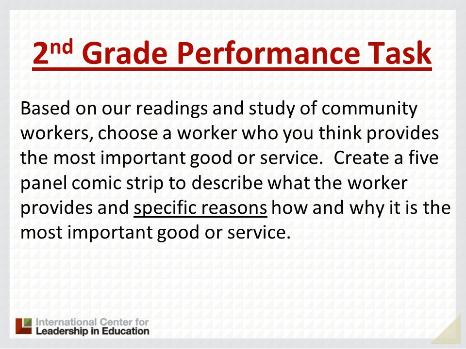 2 nd Grade Performance Task Based on our readings and study of community workers, choose a worker who you think provides the most important good or se