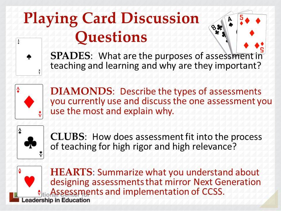 Playing Card Discussion Questions SPADES: What are the purposes of assessment in teaching and learning and why are they important? DIAMONDS: Describe