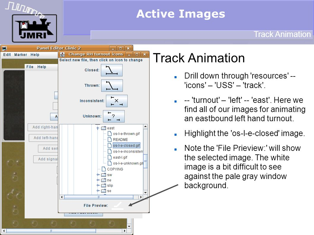 Active Images Track Animation Drill down through resources -- icons – USS – track .