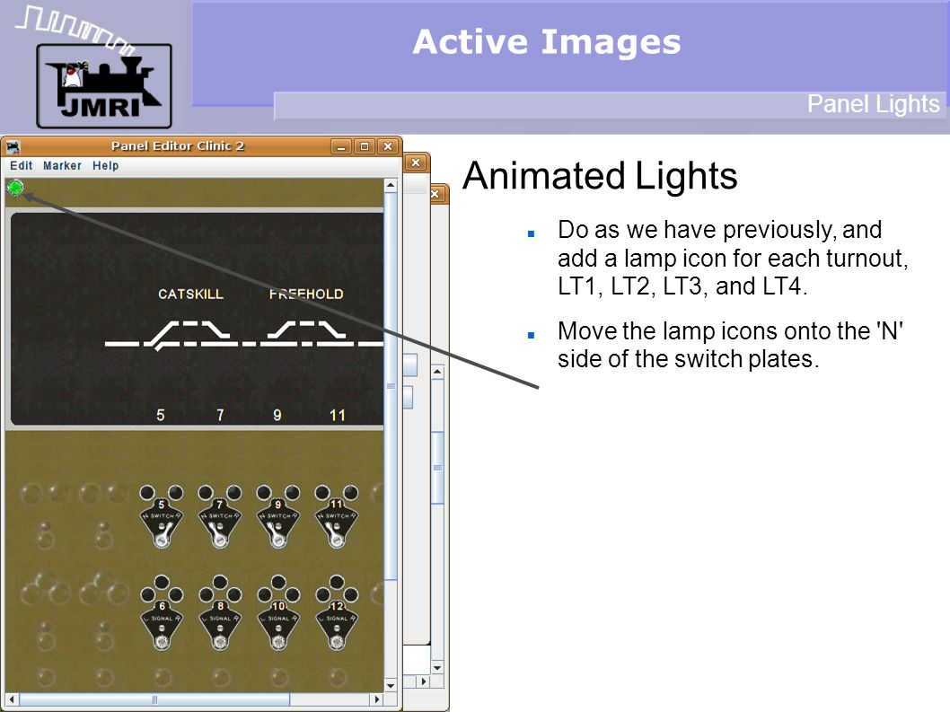 Active Images Animated Lights Panel Lights Do as we have previously, and add a lamp icon for each turnout, LT1, LT2, LT3, and LT4.