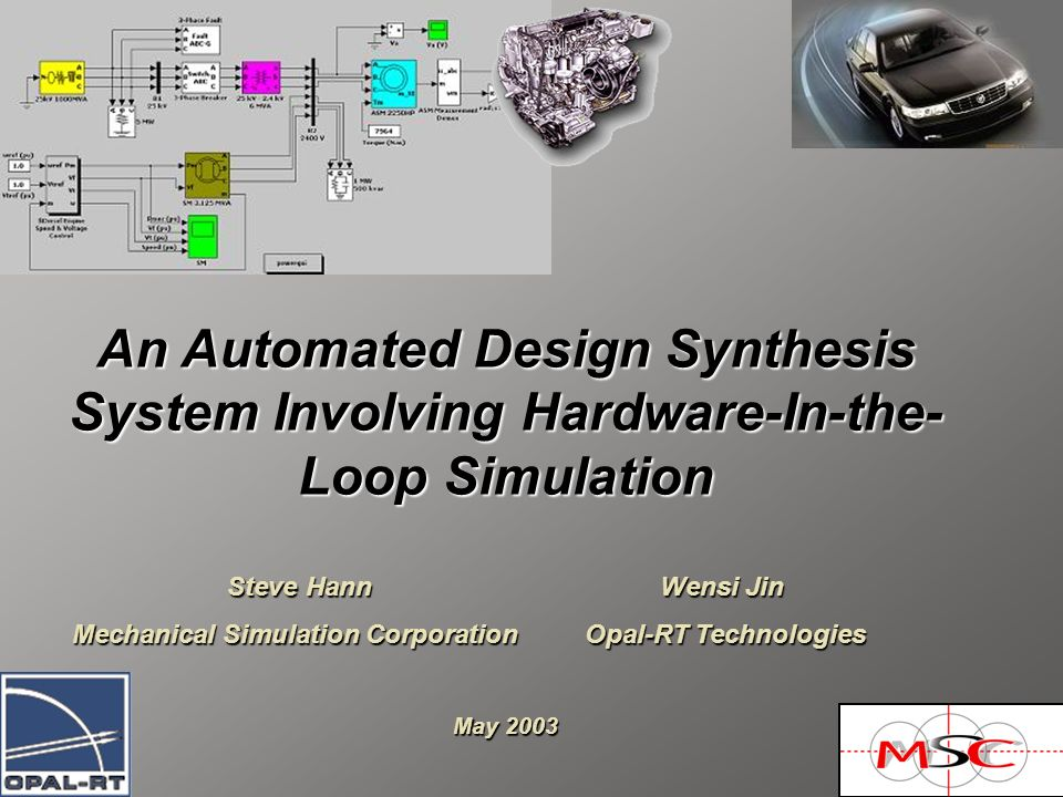 An Automated Design Synthesis System Involving Hardware-In-the- Loop Simulation Steve Hann Wensi Jin Mechanical Simulation Corporation Opal-RT Technologies Mechanical Simulation Corporation Opal-RT Technologies May 2003