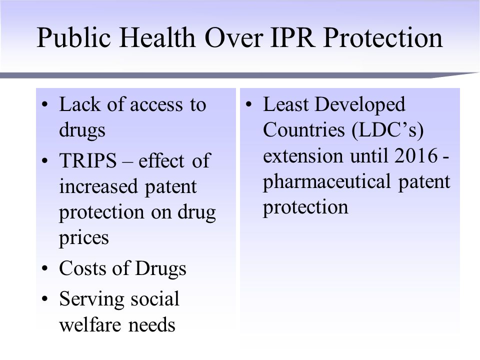Public Health Over IPR Protection Doha Declaration – primacy to public health over IPR protection Implementation of TRIPS – effect of increased patent protection on drug prices Costs of Drugs Unequal distribution of benefits from patent system EU Poverty Reduction Program - to rebalance the priorities of TRIPS Compulsory Licensing –EU Directive on –no manufacturing capacity