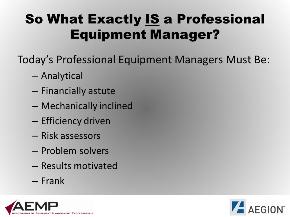So What Exactly IS a Professional Equipment Manager.