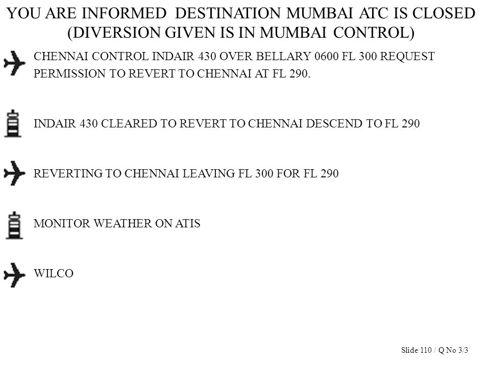 YOU ARE INFORMED DESTINATION MUMBAI ATC IS CLOSED (DIVERSION GIVEN IS IN MUMBAI CONTROL) CHENNAI CONTROL INDAIR 430 OVER BELLARY 0600 FL 300 REQUEST P