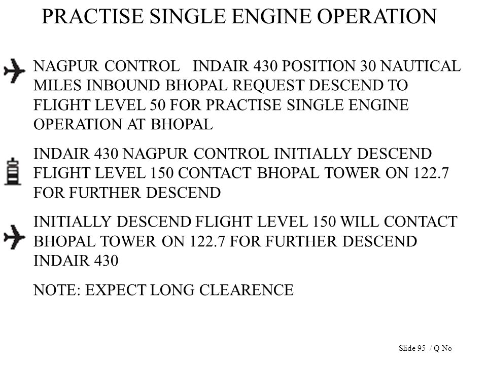 PRACTISE SINGLE ENGINE OPERATION NAGPUR CONTROL INDAIR 430 POSITION 30 NAUTICAL MILES INBOUND BHOPAL REQUEST DESCEND TO FLIGHT LEVEL 50 FOR PRACTISE S