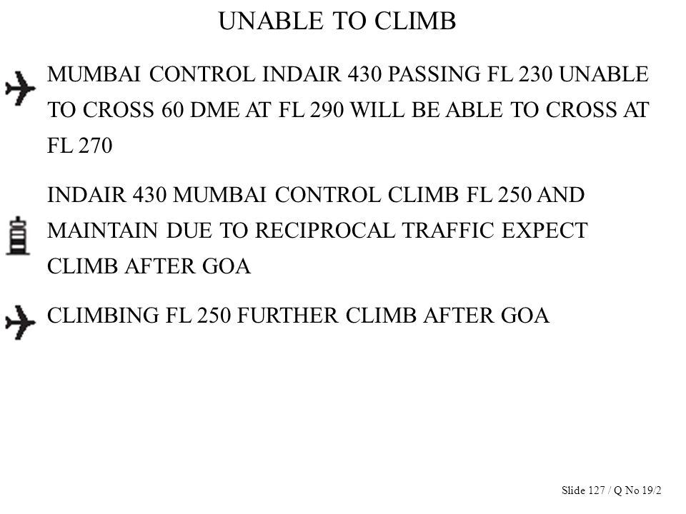 UNABLE TO CLIMB MUMBAI CONTROL INDAIR 430 PASSING FL 230 UNABLE TO CROSS 60 DME AT FL 290 WILL BE ABLE TO CROSS AT FL 270 INDAIR 430 MUMBAI CONTROL CL