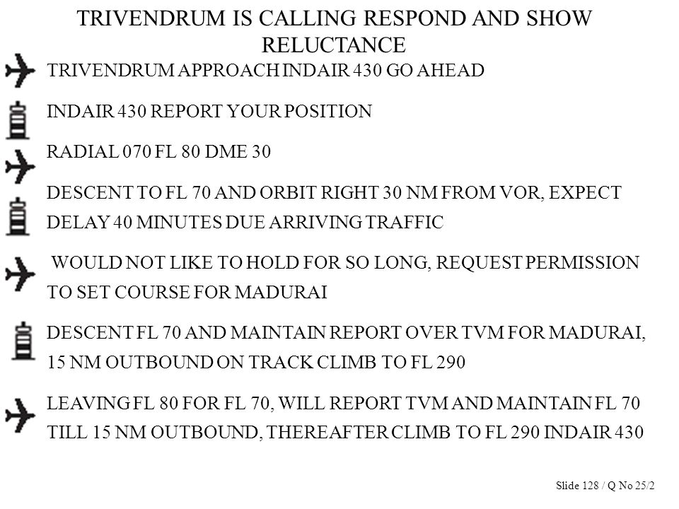 TRIVENDRUM IS CALLING RESPOND AND SHOW RELUCTANCE TRIVENDRUM APPROACH INDAIR 430 GO AHEAD INDAIR 430 REPORT YOUR POSITION RADIAL 070 FL 80 DME 30 DESC