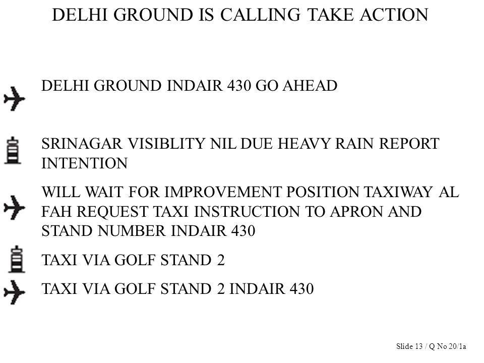 DELHI GROUND IS CALLING TAKE ACTION DELHI GROUND INDAIR 430 GO AHEAD SRINAGAR VISIBLITY NIL DUE HEAVY RAIN REPORT INTENTION WILL WAIT FOR IMPROVEMENT
