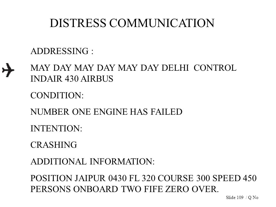 DISTRESS COMMUNICATION ADDRESSING : MAY DAY MAY DAY MAY DAY DELHI CONTROL INDAIR 430 AIRBUS CONDITION: NUMBER ONE ENGINE HAS FAILED INTENTION: CRASHIN