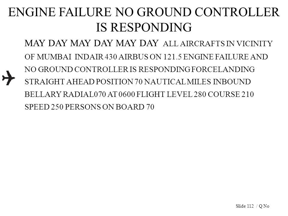 ENGINE FAILURE NO GROUND CONTROLLER IS RESPONDING MAY DAY MAY DAY MAY DAY ALL AIRCRAFTS IN VICINITY OF MUMBAI INDAIR 430 AIRBUS ON 121.5 ENGINE FAILUR