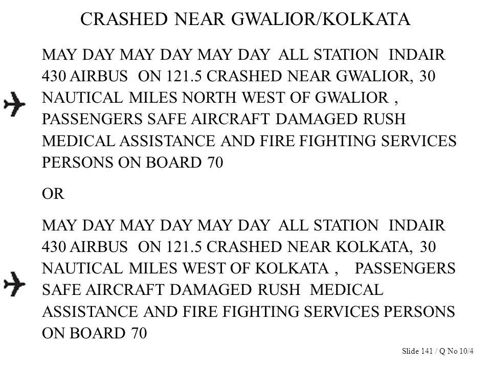 CRASHED NEAR GWALIOR/KOLKATA MAY DAY MAY DAY MAY DAY ALL STATION INDAIR 430 AIRBUS ON 121.5 CRASHED NEAR GWALIOR, 30 NAUTICAL MILES NORTH WEST OF GWAL
