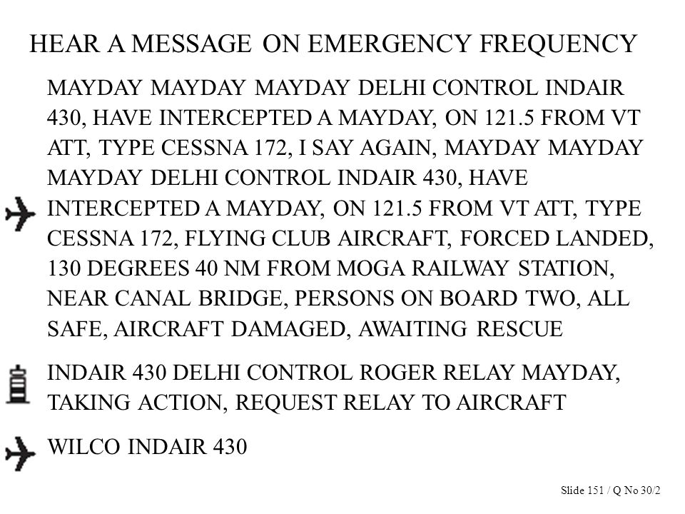 HEAR A MESSAGE ON EMERGENCY FREQUENCY MAYDAY MAYDAY MAYDAY DELHI CONTROL INDAIR 430, HAVE INTERCEPTED A MAYDAY, ON 121.5 FROM VT ATT, TYPE CESSNA 172,