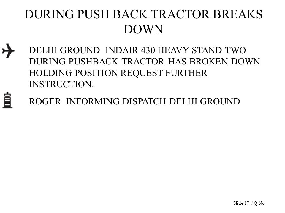 DURING PUSH BACK TRACTOR BREAKS DOWN DELHI GROUND INDAIR 430 HEAVY STAND TWO DURING PUSHBACK TRACTOR HAS BROKEN DOWN HOLDING POSITION REQUEST FURTHER