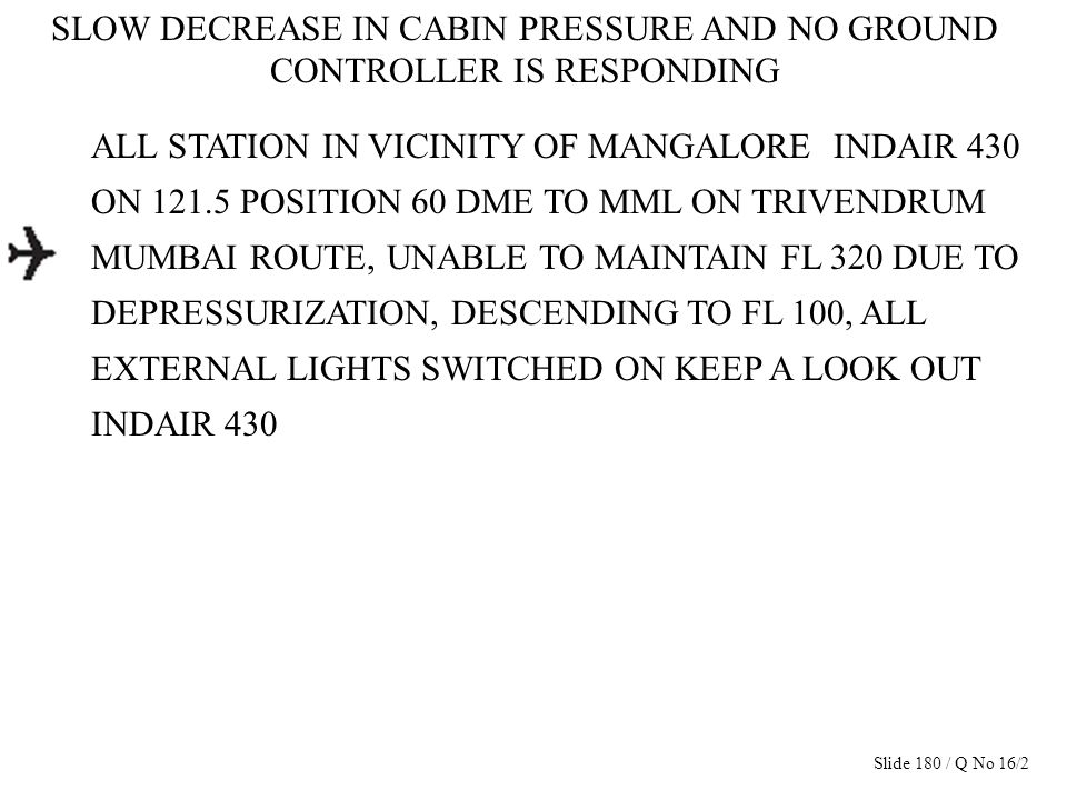 SLOW DECREASE IN CABIN PRESSURE AND NO GROUND CONTROLLER IS RESPONDING ALL STATION IN VICINITY OF MANGALORE INDAIR 430 ON 121.5 POSITION 60 DME TO MML