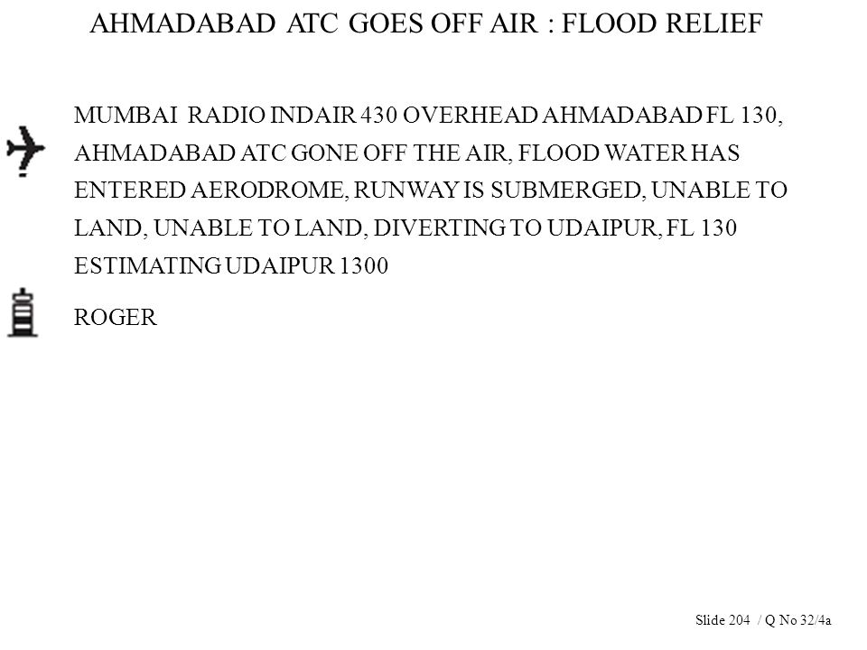 AHMADABAD ATC GOES OFF AIR : FLOOD RELIEF MUMBAI RADIO INDAIR 430 OVERHEAD AHMADABAD FL 130, AHMADABAD ATC GONE OFF THE AIR, FLOOD WATER HAS ENTERED A