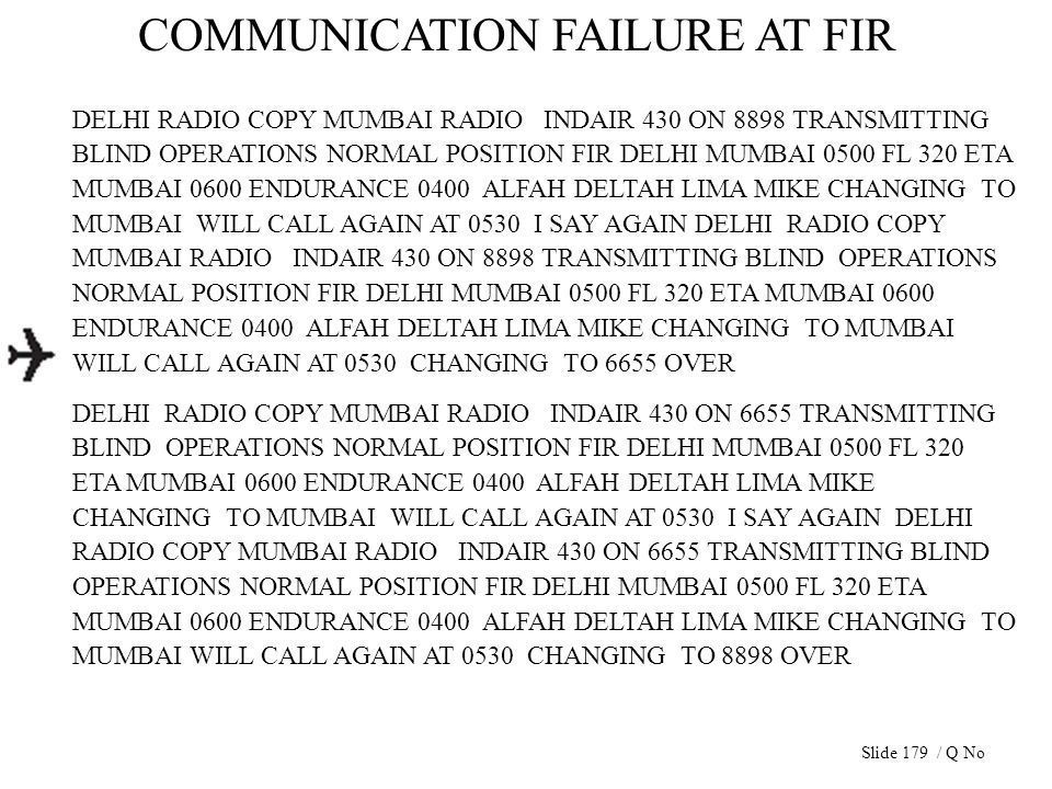 COMMUNICATION FAILURE AT FIR DELHI RADIO COPY MUMBAI RADIO INDAIR 430 ON 8898 TRANSMITTING BLIND OPERATIONS NORMAL POSITION FIR DELHI MUMBAI 0500 FL 3