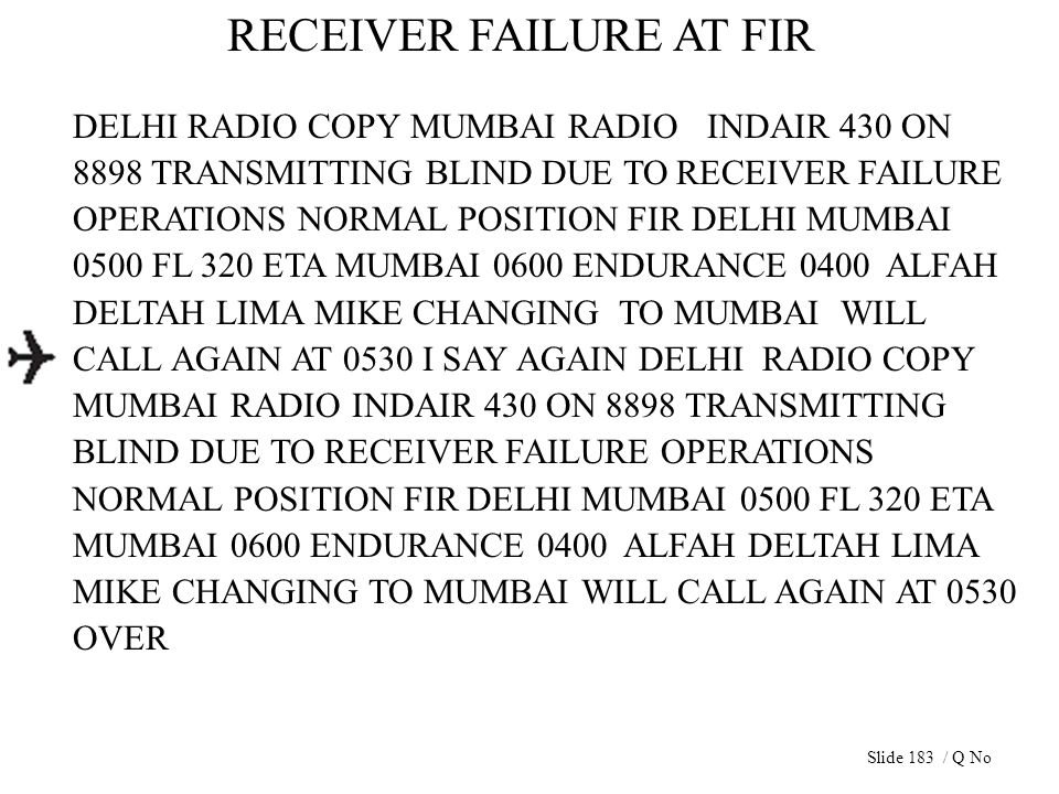 RECEIVER FAILURE AT FIR DELHI RADIO COPY MUMBAI RADIO INDAIR 430 ON 8898 TRANSMITTING BLIND DUE TO RECEIVER FAILURE OPERATIONS NORMAL POSITION FIR DEL