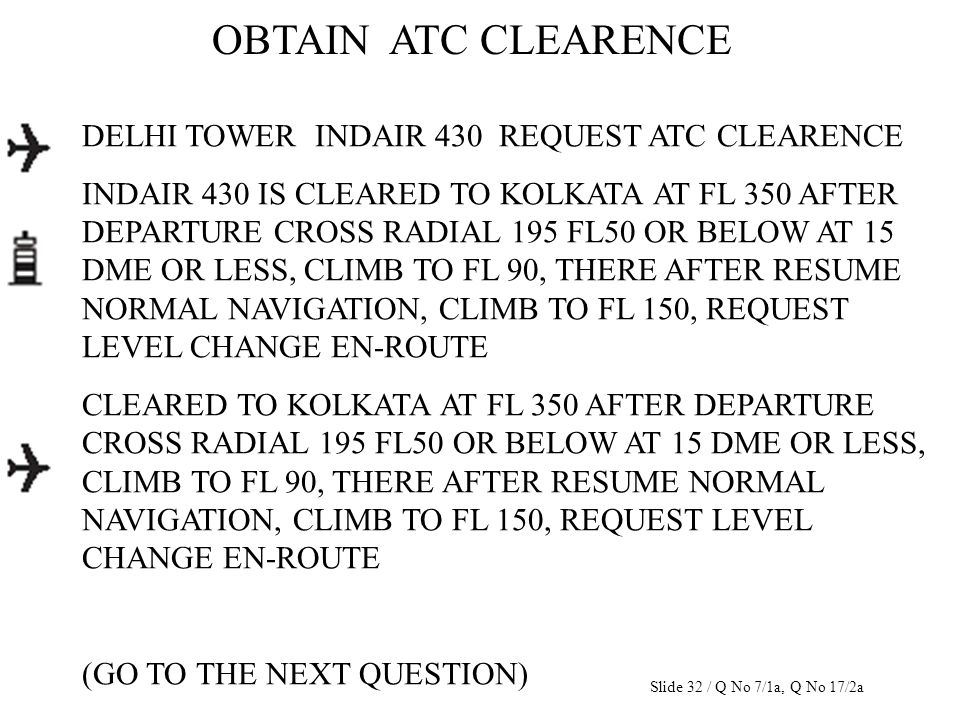 DELHI TOWER INDAIR 430 REQUEST ATC CLEARENCE INDAIR 430 IS CLEARED TO KOLKATA AT FL 350 AFTER DEPARTURE CROSS RADIAL 195 FL50 OR BELOW AT 15 DME OR LE