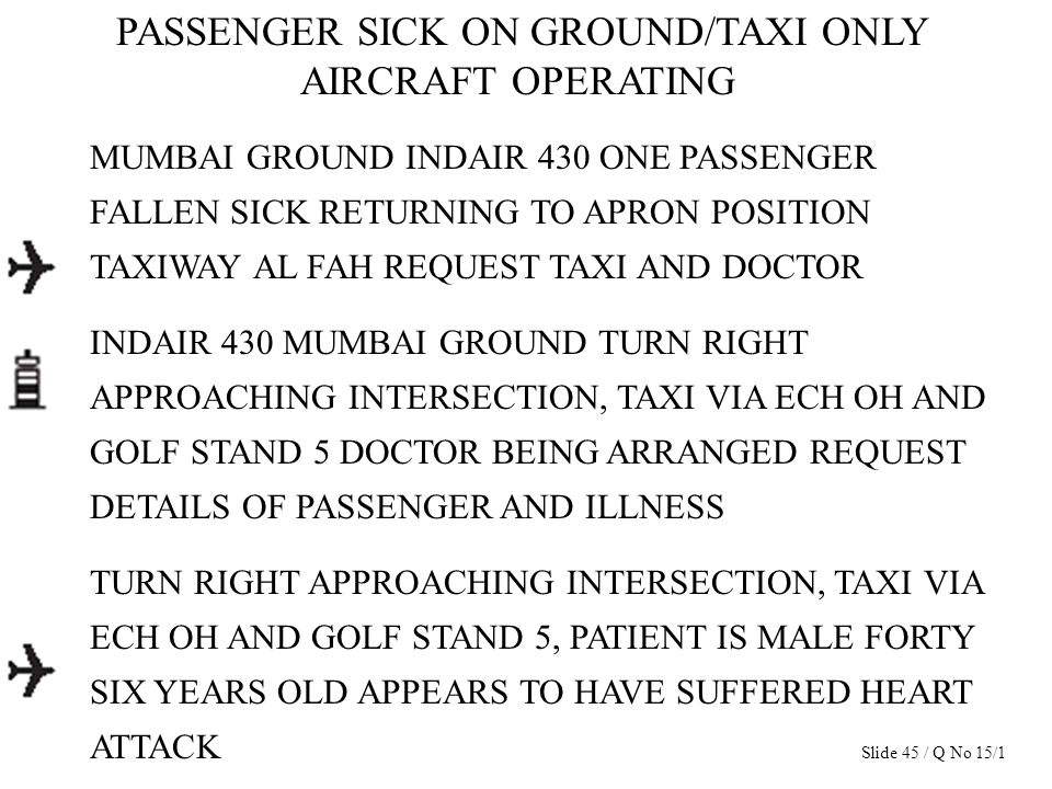 PASSENGER SICK ON GROUND/TAXI ONLY AIRCRAFT OPERATING MUMBAI GROUND INDAIR 430 ONE PASSENGER FALLEN SICK RETURNING TO APRON POSITION TAXIWAY AL FAH RE