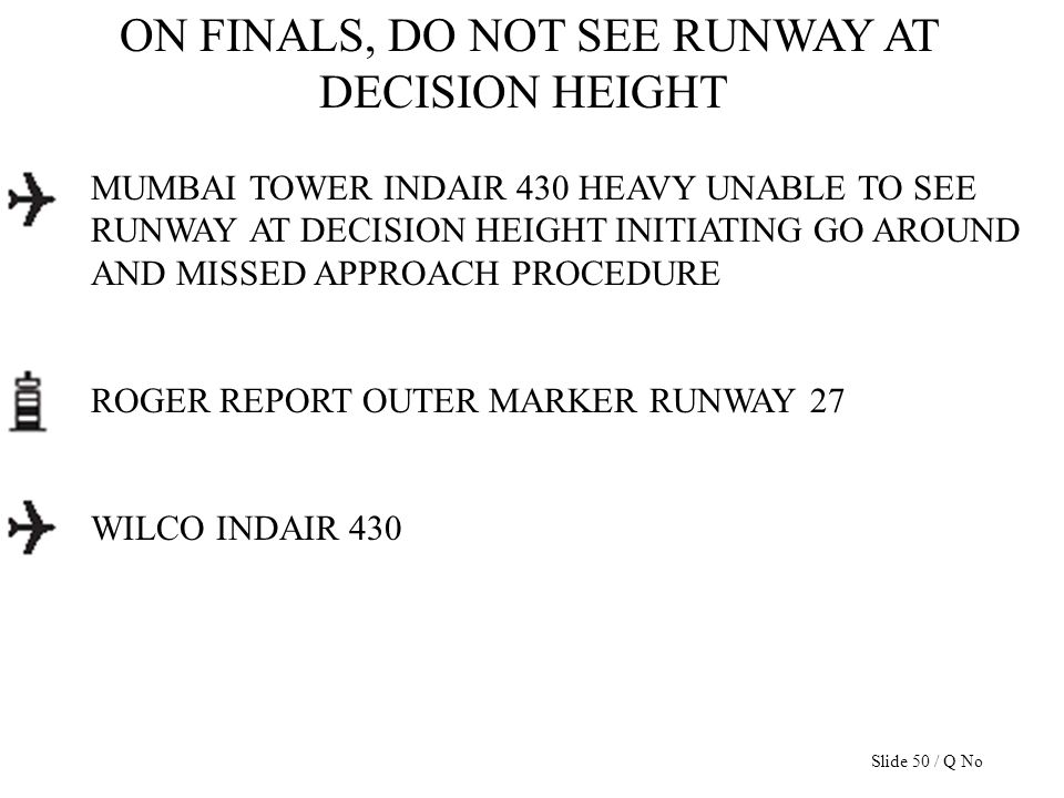 ON FINALS, DO NOT SEE RUNWAY AT DECISION HEIGHT MUMBAI TOWER INDAIR 430 HEAVY UNABLE TO SEE RUNWAY AT DECISION HEIGHT INITIATING GO AROUND AND MISSED