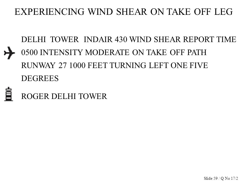 EXPERIENCING WIND SHEAR ON TAKE OFF LEG DELHI TOWER INDAIR 430 WIND SHEAR REPORT TIME 0500 INTENSITY MODERATE ON TAKE OFF PATH RUNWAY 27 1000 FEET TUR