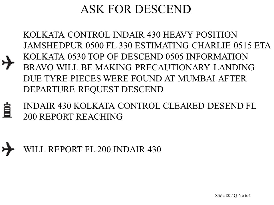 ASK FOR DESCEND KOLKATA CONTROL INDAIR 430 HEAVY POSITION JAMSHEDPUR 0500 FL 330 ESTIMATING CHARLIE 0515 ETA KOLKATA 0530 TOP OF DESCEND 0505 INFORMAT
