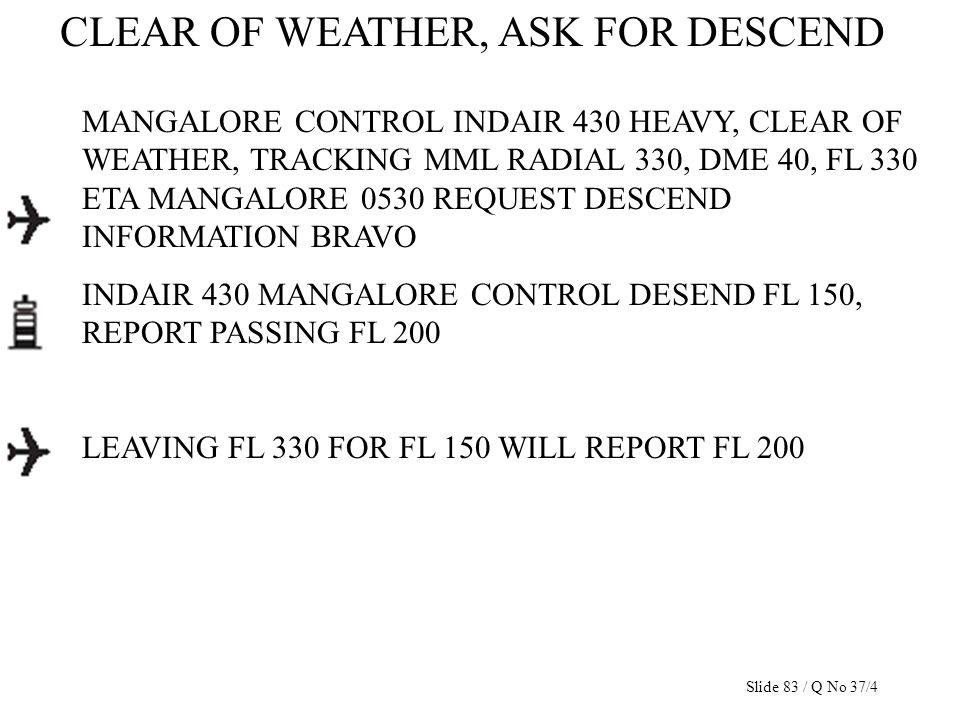 CLEAR OF WEATHER, ASK FOR DESCEND MANGALORE CONTROL INDAIR 430 HEAVY, CLEAR OF WEATHER, TRACKING MML RADIAL 330, DME 40, FL 330 ETA MANGALORE 0530 REQ