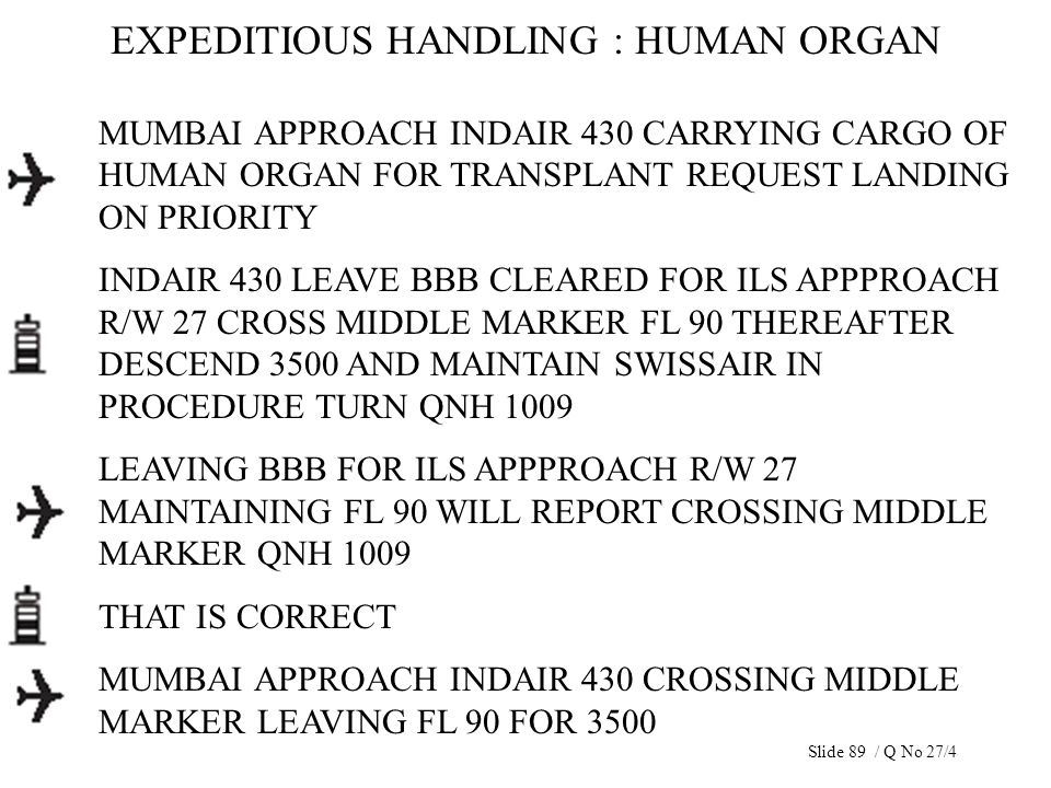 EXPEDITIOUS HANDLING : HUMAN ORGAN MUMBAI APPROACH INDAIR 430 CARRYING CARGO OF HUMAN ORGAN FOR TRANSPLANT REQUEST LANDING ON PRIORITY INDAIR 430 LEAV