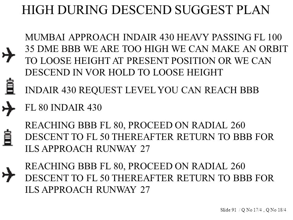 HIGH DURING DESCEND SUGGEST PLAN MUMBAI APPROACH INDAIR 430 HEAVY PASSING FL 100 35 DME BBB WE ARE TOO HIGH WE CAN MAKE AN ORBIT TO LOOSE HEIGHT AT PR