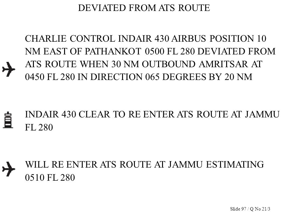 DEVIATED FROM ATS ROUTE CHARLIE CONTROL INDAIR 430 AIRBUS POSITION 10 NM EAST OF PATHANKOT 0500 FL 280 DEVIATED FROM ATS ROUTE WHEN 30 NM OUTBOUND AMR