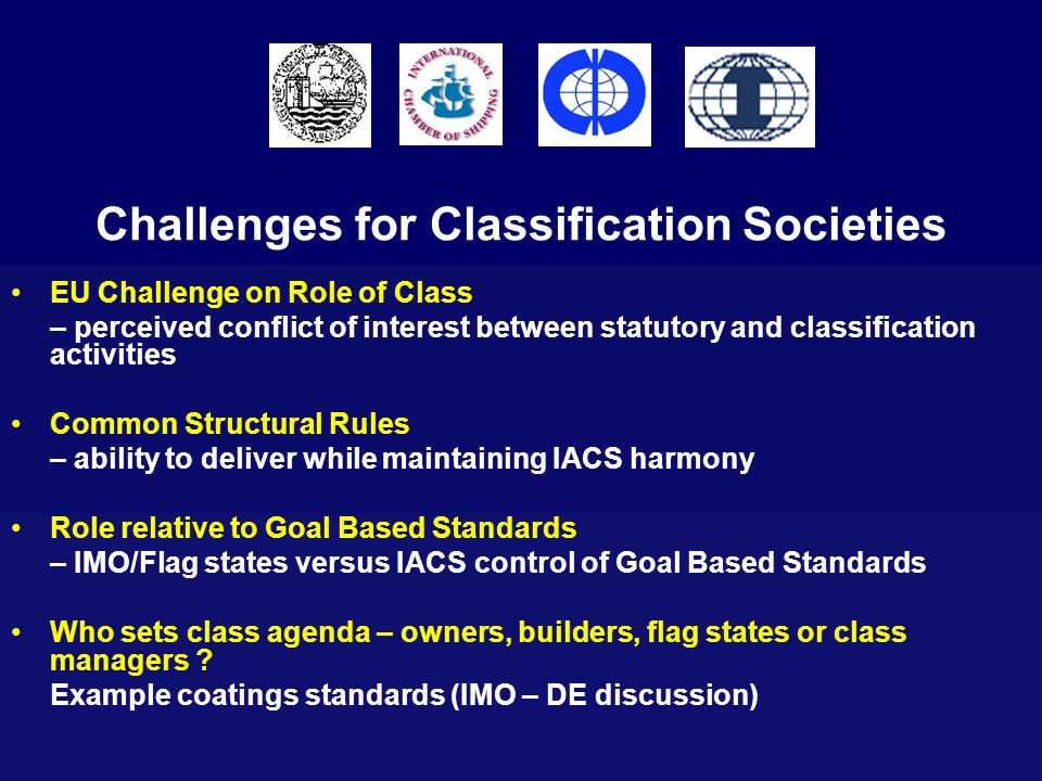 Challenges for Classification Societies EU Challenge on Role of Class – perceived conflict of interest between statutory and classification activities
