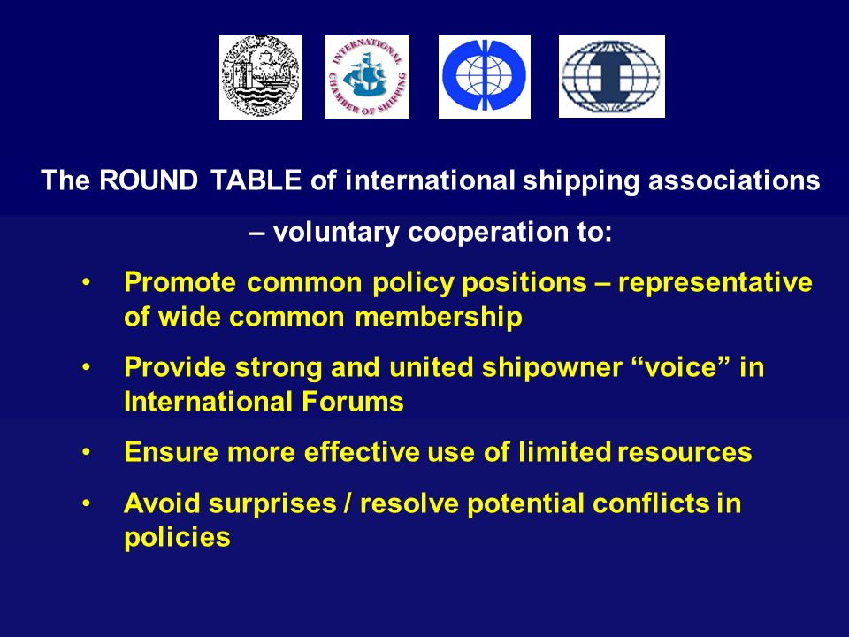 The ROUND TABLE of international shipping associations – voluntary cooperation to: Promote common policy positions – representative of wide common mem