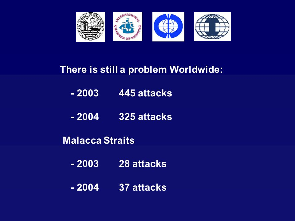There is still a problem Worldwide: - 2003445 attacks - 2004325 attacks Malacca Straits - 200328 attacks - 200437 attacks