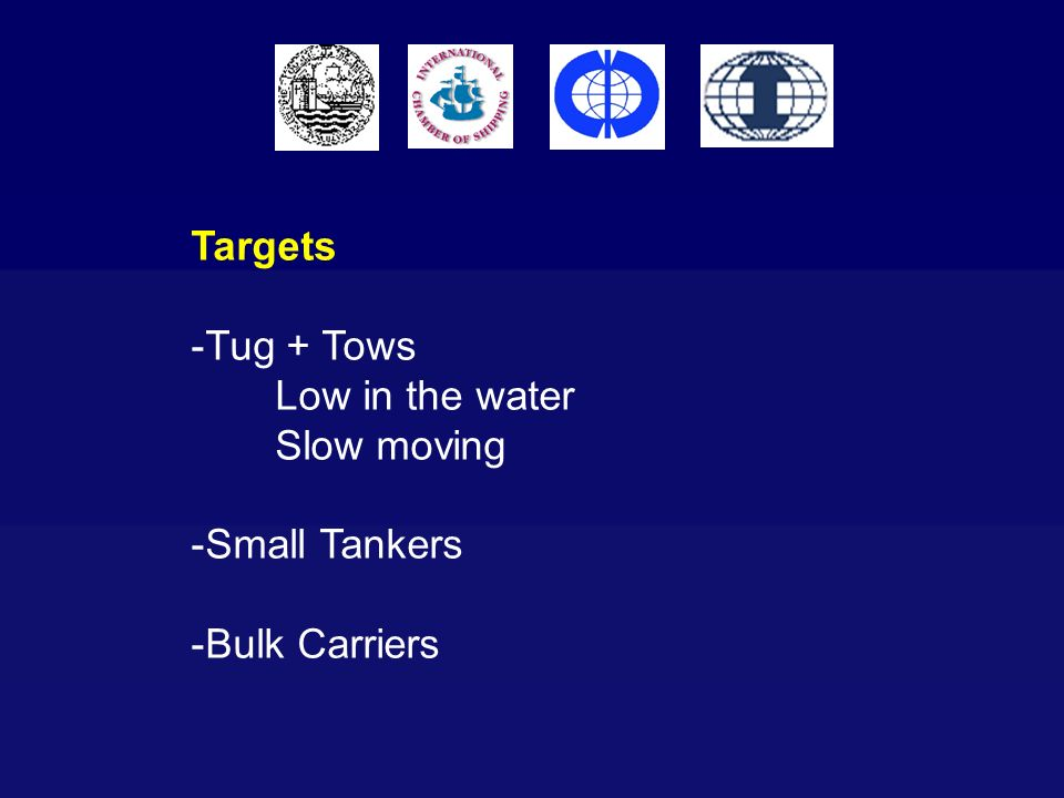 Targets -Tug + Tows Low in the water Slow moving -Small Tankers -Bulk Carriers