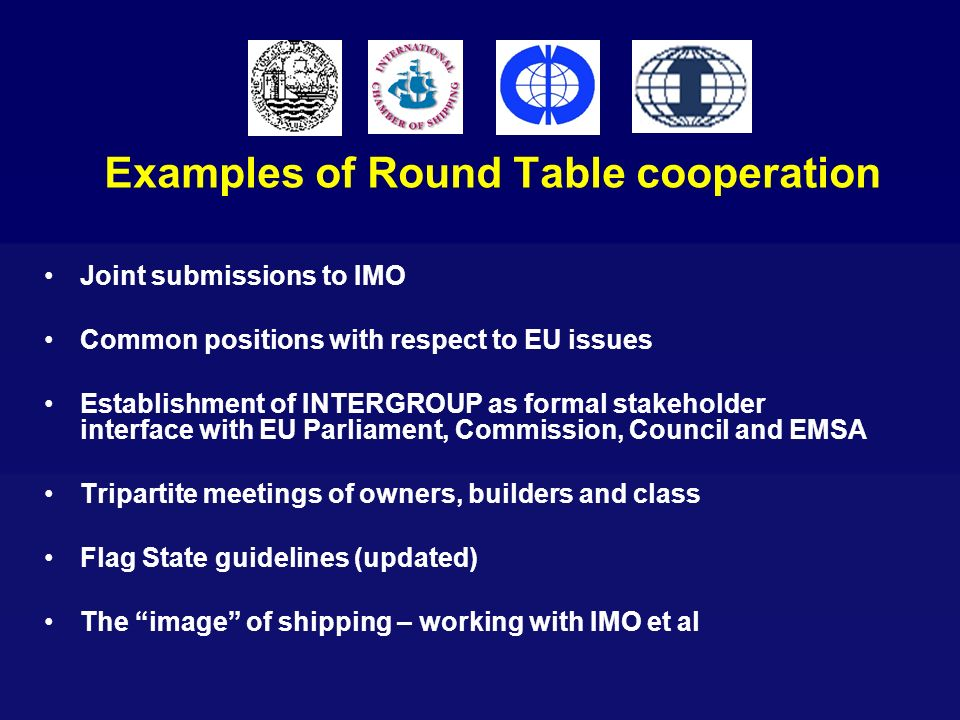 Examples of Round Table cooperation Joint submissions to IMO Common positions with respect to EU issues Establishment of INTERGROUP as formal stakehol