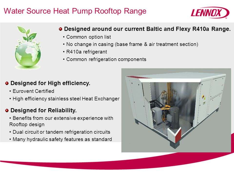 Water Source Heat Pump Rooftop Range Designed for High efficiency. Eurovent Certified High efficiency stainless steel Heat Exchanger Designed for Reli