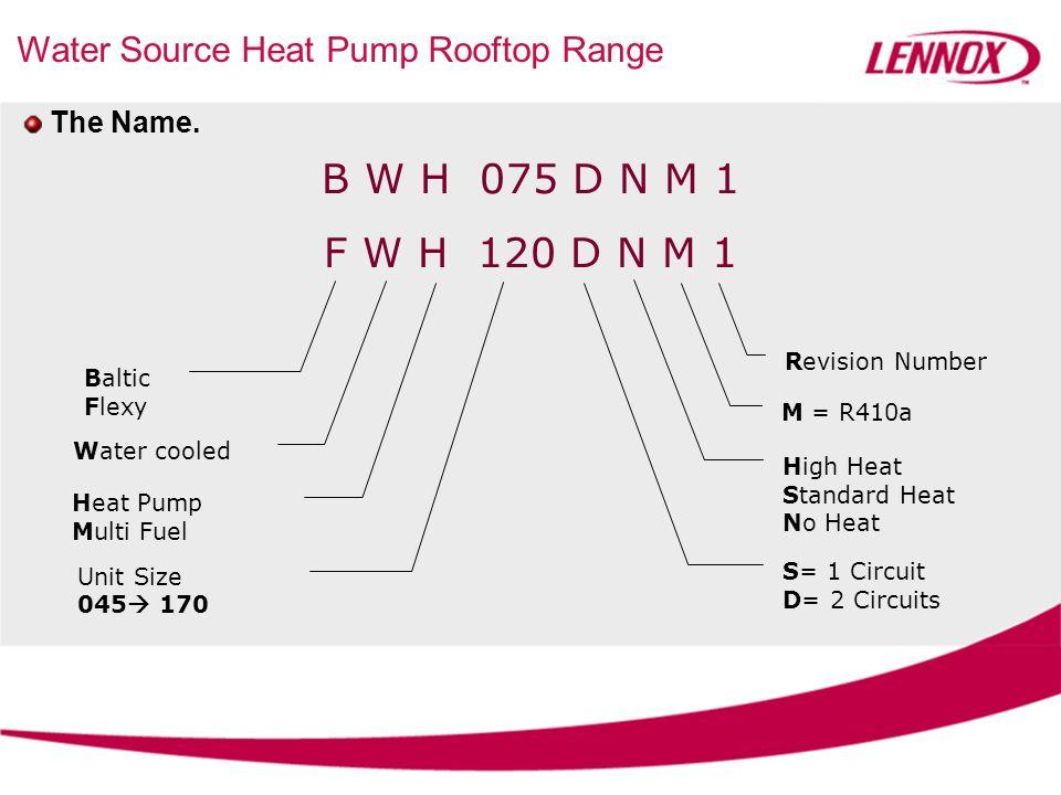 Water Source Heat Pump Rooftop Range The Name. B W H 075 D N M 1 F W H 120 D N M 1 Baltic Flexy Water cooled Heat Pump Multi Fuel Unit Size 045 170 S=