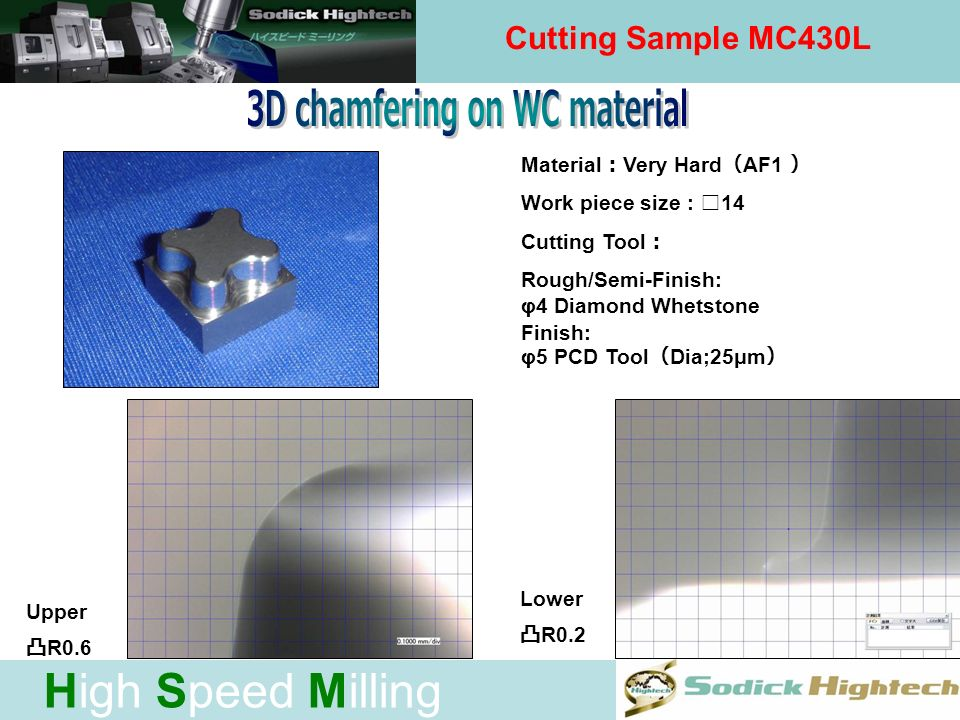 High Speed Milling Cutting Sample MC430L Material Very Hard AF1 Tool Rough: φ7 CBN Whetstone Finish: φPCD Tool Dia;25μm Rib Thickness Height: 0.1 5.0m