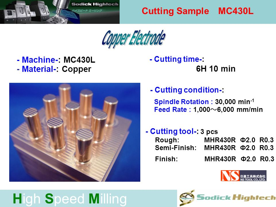 High Speed Milling Cutting sample - Machine-: MC430L - Material-: Copper - Cutting time-: 3H 57 min - Cutting condition-: Spindle Rotation : 20,000 30