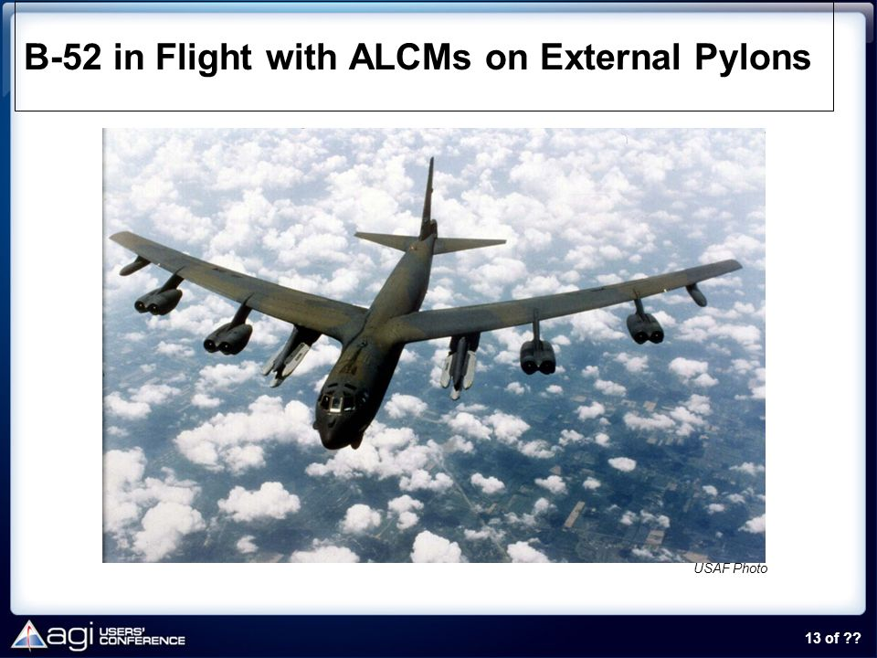 13 of ?? B-52 in Flight with ALCMs on External Pylons USAF Photo
