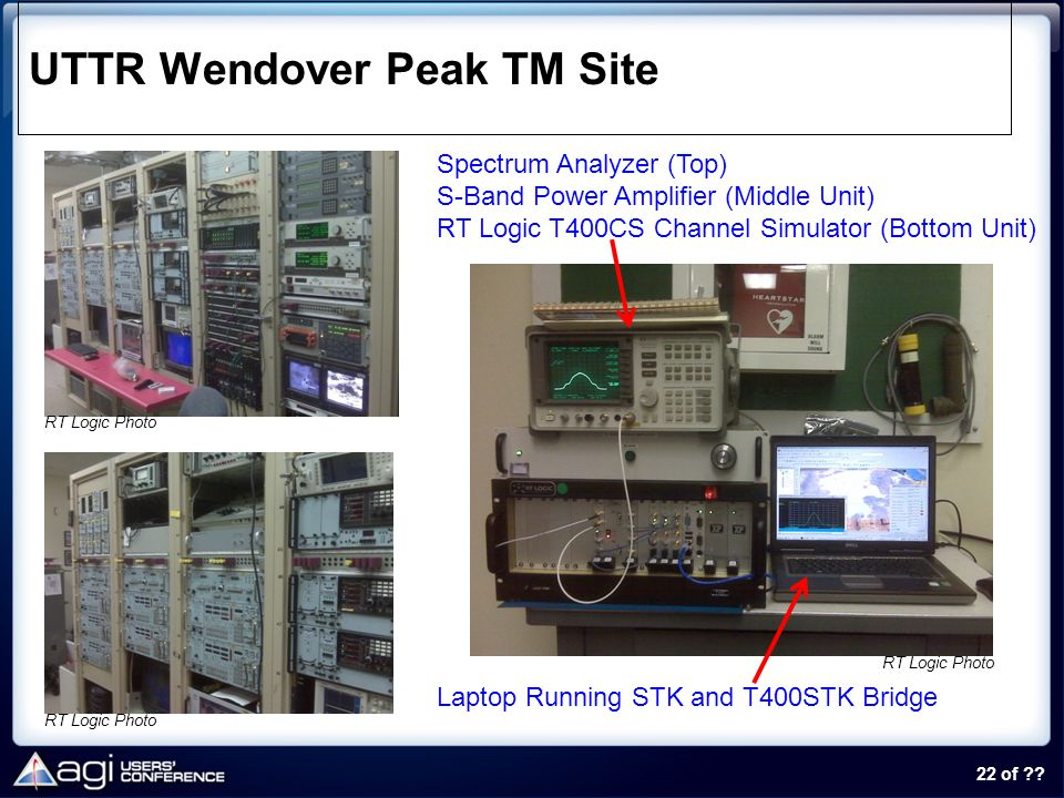 22 of ?? UTTR Wendover Peak TM Site Laptop Running STK and T400STK Bridge Spectrum Analyzer (Top) S-Band Power Amplifier (Middle Unit) RT Logic T400CS