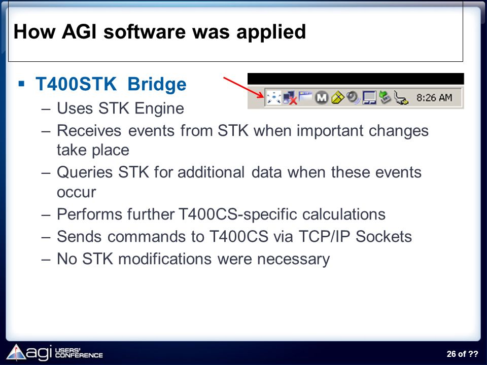 26 of ?? How AGI software was applied T400STK Bridge –Uses STK Engine –Receives events from STK when important changes take place –Queries STK for add