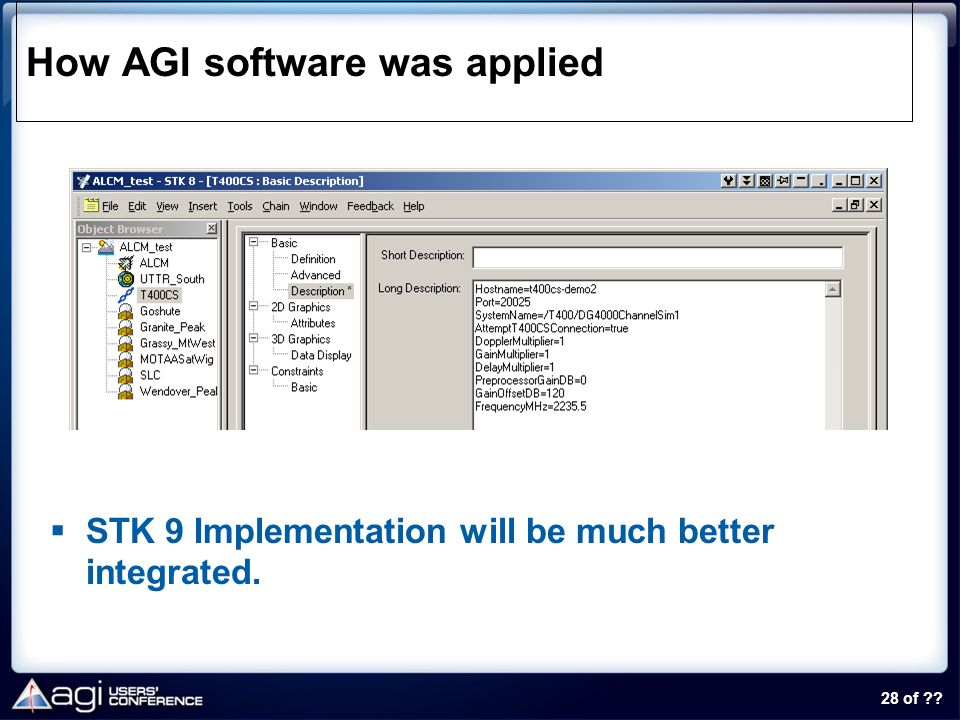 28 of ?? How AGI software was applied STK 9 Implementation will be much better integrated.