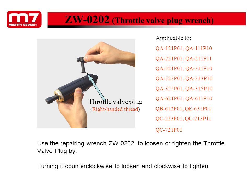 Use the repairing wrench ZW-0202 to loosen or tighten the Throttle Valve Plug by: Turning it counterclockwise to loosen and clockwise to tighten. ZW-0