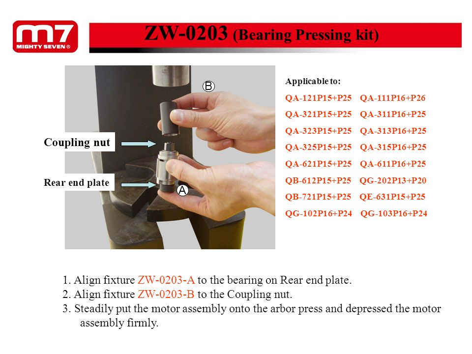 ZW-0203 (Bearing Pressing kit) Coupling nut 1. Align fixture ZW-0203-A to the bearing on Rear end plate. 2. Align fixture ZW-0203-B to the Coupling nu