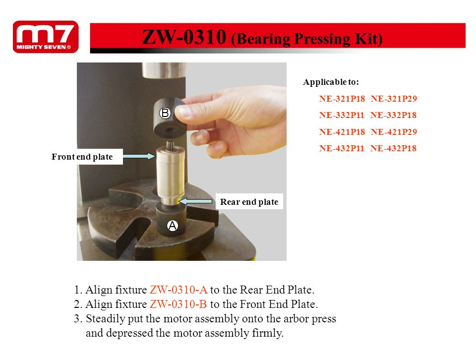 ZW-0310 (Bearing Pressing Kit) 1. Align fixture ZW-0310-A to the Rear End Plate. 2. Align fixture ZW-0310-B to the Front End Plate. 3. Steadily put th