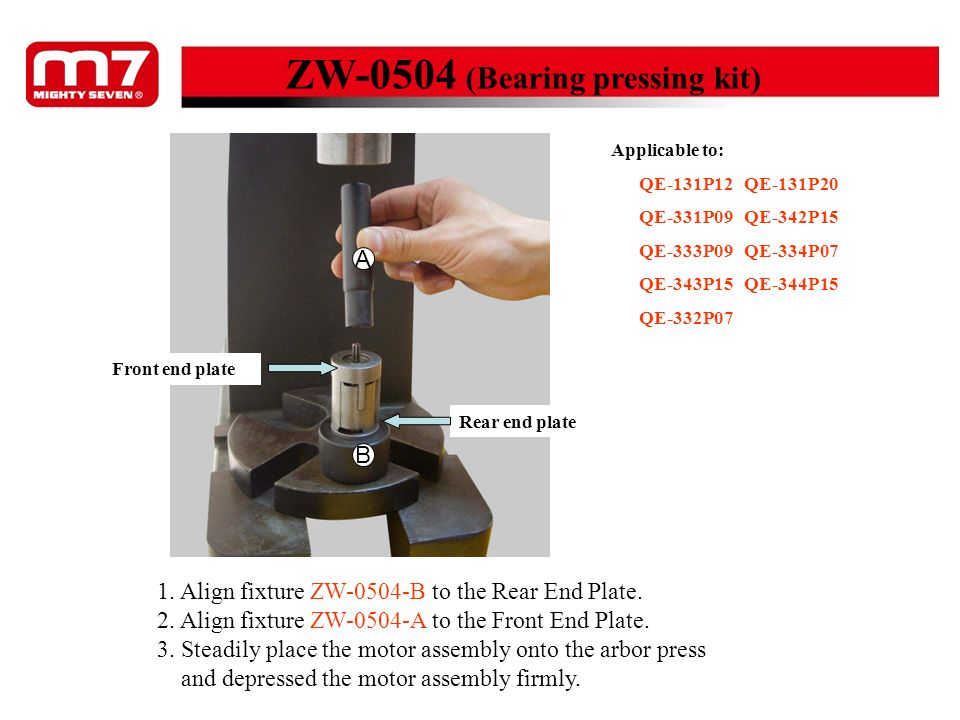 ZW-0504 (Bearing pressing kit) 1. Align fixture ZW-0504-B to the Rear End Plate. 2. Align fixture ZW-0504-A to the Front End Plate. 3. Steadily place